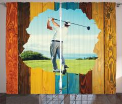 Erkek Golfçü Desenli Fon Perde Kahverengi Mavi