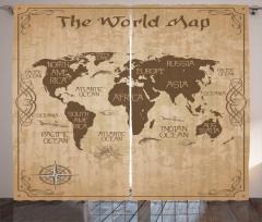 Dünya Haritası Desenli Fon Perde Nostaljik Kahve