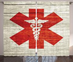 Tıbbın Sembolü Desenli Fon Perde Kırmızı Beyaz