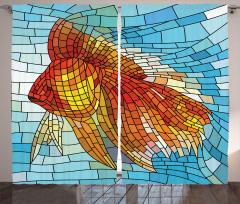 Turuncu Balık Desenli Fon Perde Dekoratif Şık