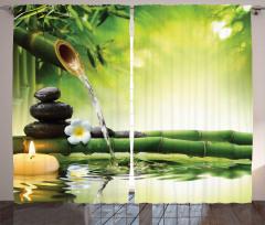 Bambudan Akan Su Fon Perde Çiçek Mum Yeşil Şık