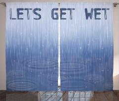 Mavi Yağmur Desenli Fon Perde Dekoratif Romantik