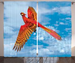 Zümrüdüanka Desenli Fon Perde Kırmızı Gökyüzü