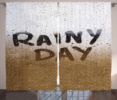 Yağmurlu Gün Desenli Fon Perde Kahverengi Şık