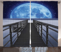 Aya Giden İskele Fon Perde Mavi Dekoratif Şık