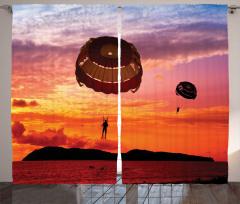 Denize İnen Paraşüt Fon Perde Turuncu Gökyüzü