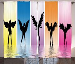 Kanatlı Mankenler Fon Perde Rengarenk Dekoratif