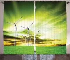 Rüzgar Türbinleri Fon Perde Yeşil Gökyüzü Doğa
