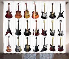 Gitar Çeşitleri Desenli Fon Perde Beyaz Fon Müzik