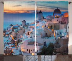 Beyaz Evler Desenli Fon Perde Yunanistan Gökyüzü
