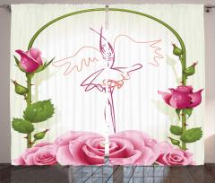 Güller ve Balerin Fon Perde Şık Tasarım Çeyizlik