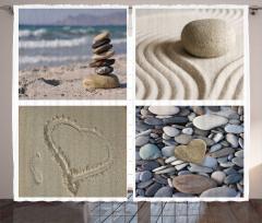 Çakıl Taşları Desenli Fon Perde Dekoratif Deniz