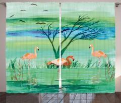 Flamingo ve Kuş Desenli Fon Perde Yeşil Mavi Şık