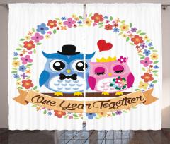 Aşık Baykuşlar Desenli Fon Perde Çiçek Romantik