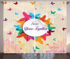 Rengarenk Kelebekli Fon Perde Aşk Yıl Dönümü