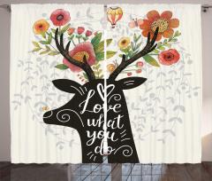Çiçek Boynuzlu Geyik Fon Perde Şık Tasarım Trend