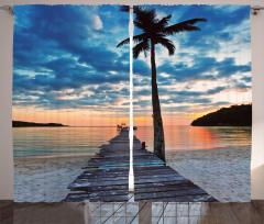 Palmiyeli Kumsal Fon Perde Deniz Mavi Gökyüzü