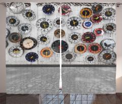 Duvar Saatleri Desenli Fon Perde Nostaljik Gri