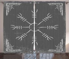 Etnik Geometrik Desenli Fon Perde Gri Şık Tasarım