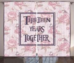 Pembe Güller Desenli Fon Perde On Üç Yıllık Aşk