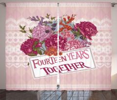 Pembe Çiçek Desenli Fon Perde Romantik Şık Tasarım