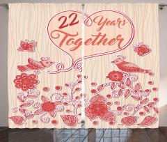 Kırmızı Çiçek ve Kuşlar Fon Perde Romantik Şık