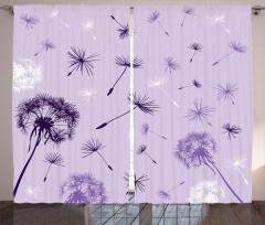 Uçuşan Mor Çiçekler Fon Perde Doğa Dekoratif Şık
