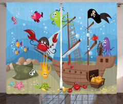 Korsan Gemisi ve Balık Fon Perde Mavi Dekoratif