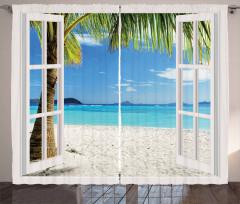 Beyaz Kumsal Fon Perde Palmiye ve Gökyüzü
