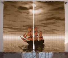 Denizdeki Yelkenli Fon Perde Kahverengi Gökyüzü