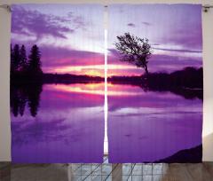 Mor Nehir ve Gökyüzü Fon Perde Ağaç Bulut Şık