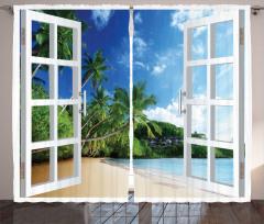 Palmiyeli Kumsal Fon Perde Deniz Bulutlu Gökyüzü
