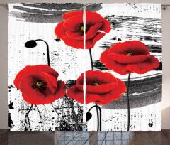 Şık Gelincik Desenli Fon Perde Kırmızı Çeyizlik
