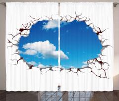 Mavi Gökyüzü Desenli Fon Perde Bulut Dekoratif