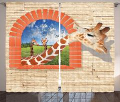 Zürafa Desenli Fon Perde Turuncu Bulut Gökyüzü