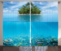 Deniz Yaşamı Desenli Fon Perde Mavi Gökyüzü Şık
