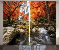 Ormandaki Şelale Fon Perde Turuncu Sonbahar Ağaç