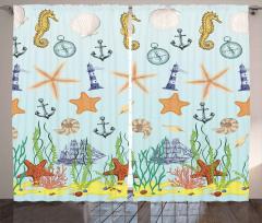 Mavi Çapa Desenli Fon Perde Denizyıldızı Şık