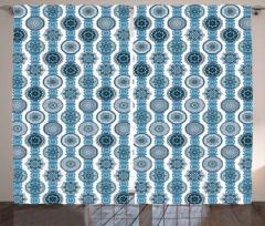 Mavi Çiçek Motifli Fon Perde Dekoratif Şık Tasarım