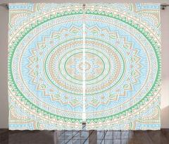 Dekoratif Mandala Fon Perde Yeşil Bej Mavi Şık