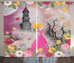 Pembe Elbiseli Kız Fon Perde Masal Şatosu Çiçek