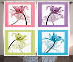Şık Çiçek Desenli Fon Perde Dekoratif Beyaz Fon