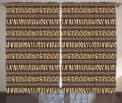 Şık Leopar Desenli Fon Perde Sarı Kahverengi Şık