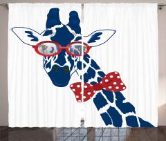 Papyonlu Zürafa Desenli Fon Perde Lacivert Kırmızı