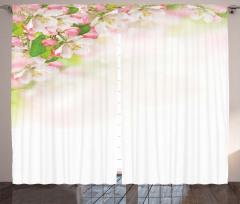 Pembe Beyaz Çiçekli Fon Perde Çeyizlik Dekoratif
