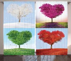 Kalp Ağaçları Desenli Fon Perde Dekoratif Romantik