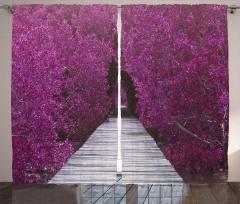 Mor Çiçekli Yol Desenli Fon Perde Dekoratif Şık