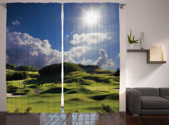 Yeşil Tepe Desenli Fon Perde Mavi Gökyüzü Şık
