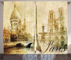 Nostaljik Paris Desenli Fon Perde Şık Tasarım