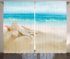 Deniz Kabuklu Desen Fon Perde Mavi Deniz Gökyüzü